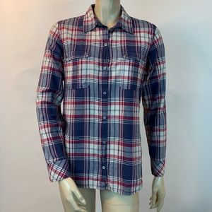 Club Monaco Plaid Flannel Button Shirt Blue S